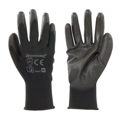 Silverline 885924 Black PU Coated Palm Safety Work Gloves Medium